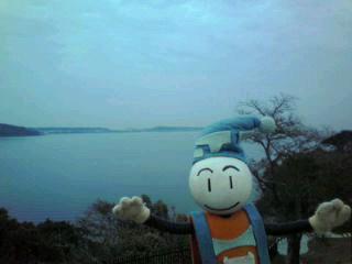 朝霧の浜名湖。